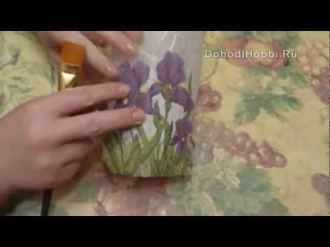 Декупаж на стекле. Декор вазы Декупаж на стекле. StudiaHandMade.Ru - YouTube