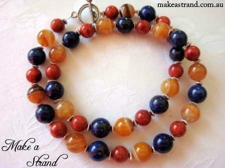 This piece featured in Wish Fashion's 'Paradise Frontier' campaign - a striking combination of red coral, yellow agate and blue lapis lazuli In stock: AU$135 + postage
