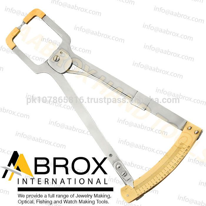 Model Number: MT-809, Gauge Measuring Caliper, Measuring Gauge Wide throat surfacing caliper. Nylon ball tips will not scratch lenses. Accommodates lens blanks of over 9cm diameter and 2.2cm in thickness. Overall length is 25cm.