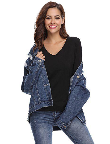 Aibrou Damen Baumwolle Langarme Einfarbige Unterhemd T-Shirt mit V- Ausschnitt  - Sweartshirt Oberteil Langarmshirts Tren…   Trendy Langarmshirts  Damen ... 76f802d53d