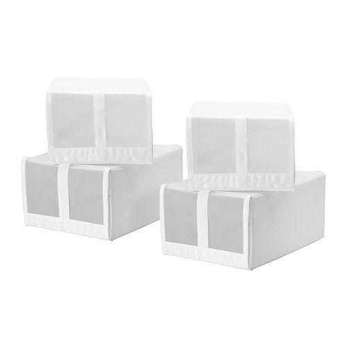 IKEA - SKUBB, Boîte à chaussures, , Le filet permet de voir les chaussures à l'intérieur de la boîte.Le rabat transparent de la boîte à chaussures s'ouvre et se ferme simplement à l'aide de la fermeture auto-agrippante.Les quatre boîtes s'intègrent côte à côte dans une structure d'armoire de 100 cm de large.Lorsque vous n'utilisez pas la boîte et que vous voulez gagner de l'espace, ouvrez la fermeture dans le fond et applatissez l...