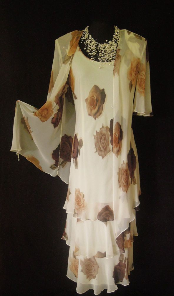 Cattiva cream brown wedding outfit size 14 16 dress and for Wedding guest dresses size 14