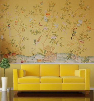 爱 Chinoiserie? Mais Qui! 爱 home decor in Chinese Chippendale style - yellow chinoiserie wallpaper