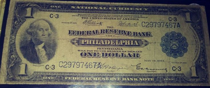 $1 One Dollar Federal Reserve Note 1918 Series Large Bill Philadelphia.