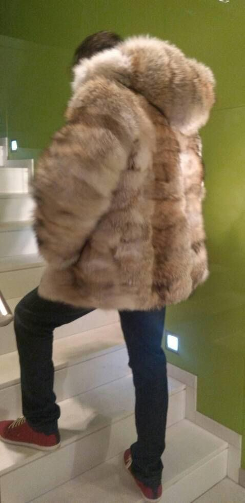 The perfect hooded winter jacket!!! Just arrived! New in!!!Natural Real Mens Fur from natural color excellent quality Coyote fur with leather zipper and fox stripe on the hood! SIZES:48/S, 50/M, 52/L, 54/XL, 56/XXL,58/XXXL. Measurements for XXL: 55 in/1,40cm bust all around/front and