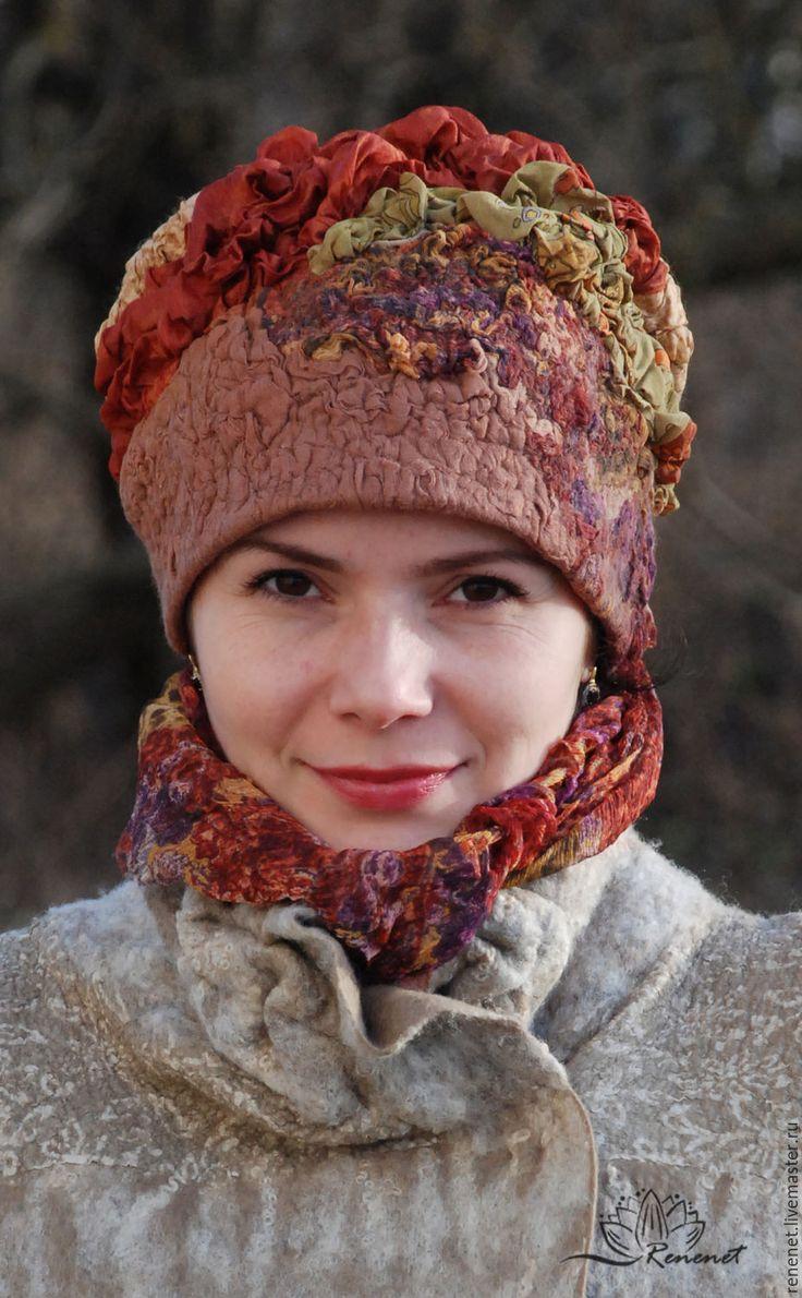 """Купить Валяная шапка """"Осень"""" - зимняя шапка, шапка осенняя, шапка весенняя…"""