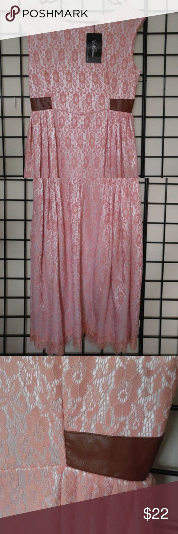 Vintage Cut Peach Lace Dress Faux Leather Accents Neckline has a vintage style cut to skim the shoulders. Peach lace with Brown faux leather accents at the waist. Length falls just below the knee. Back zip, fully lined. Nylon. New with tags. Dresses