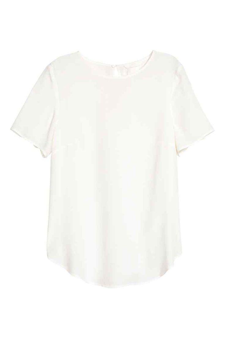 Blusa de manga corta - Blanco - MUJER   H&M ES