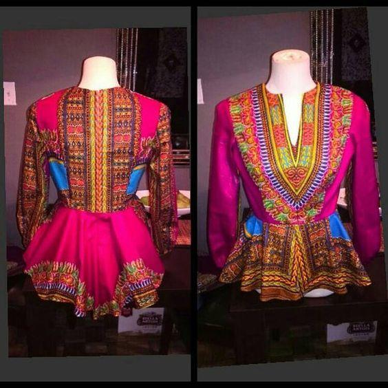 Hoog laag Dashiki blouse. van missbeidafashion op Etsy