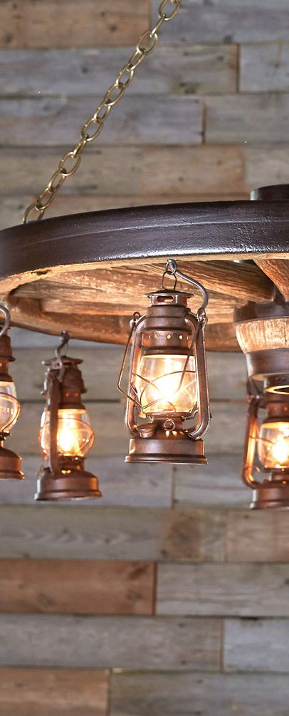 Rustic Wagon Wheel & Lantern Lighting