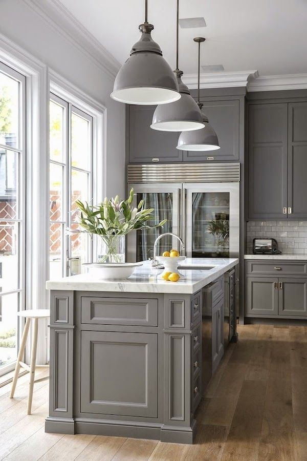 charming Gray And White Kitchen Designs #2: A beautiful kitchen decoration with white color wall, Grey color pendant  lighting decoration, kitchen beside a big modern glass system windows, ...