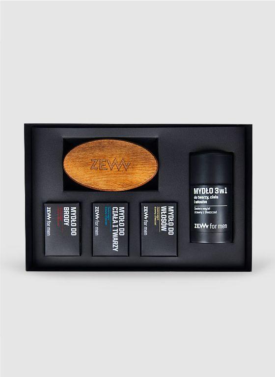 Pakiet Brodacza ZEW for men - Zestaw 4 mydeł ze szczotką do brody
