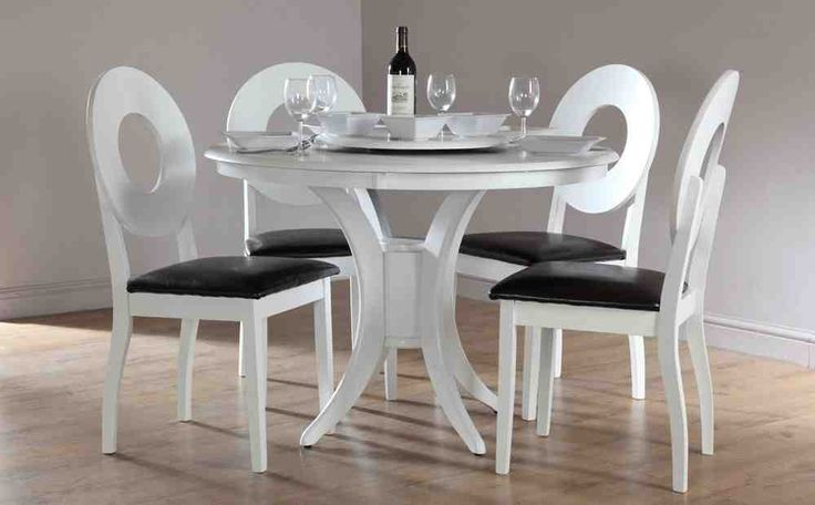 White Round Kitchen Table and Chairs