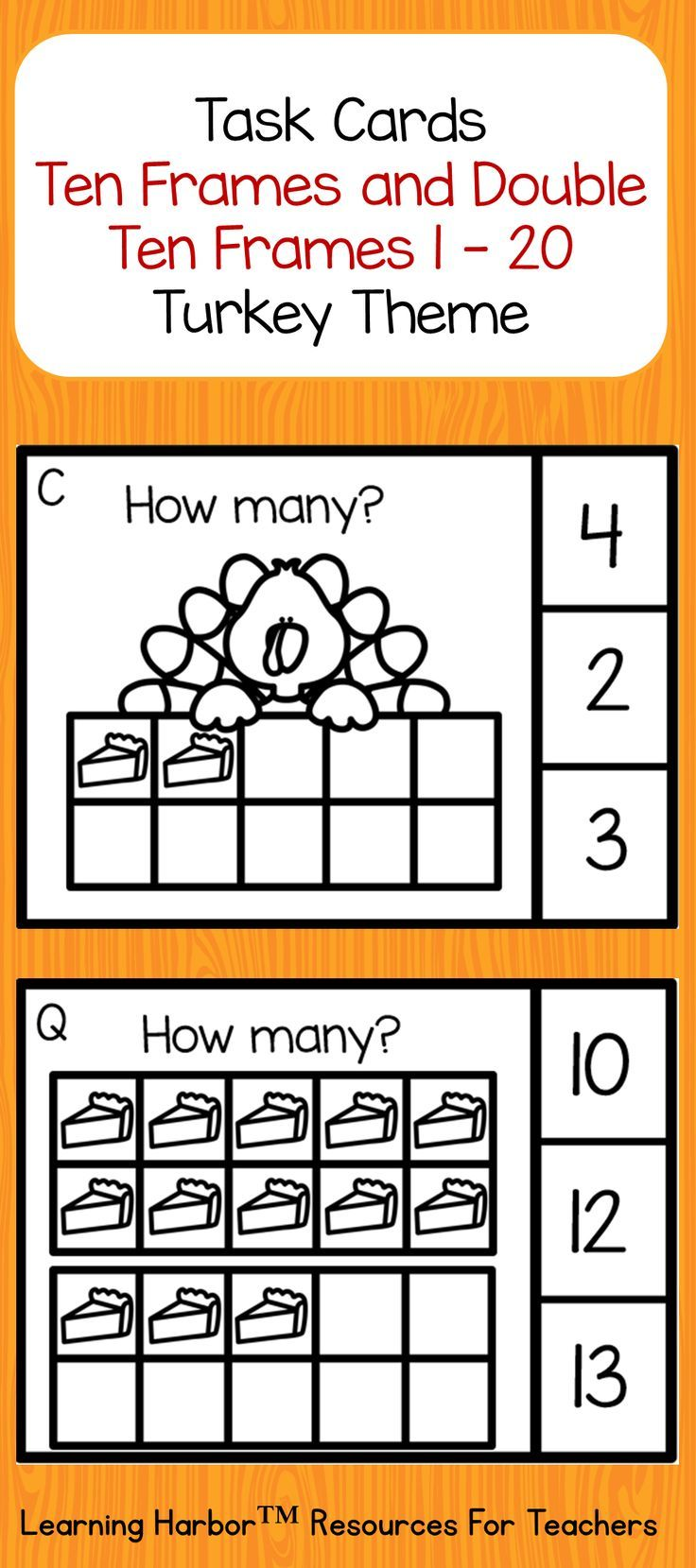 Free Counting to 20 with Ten Frames and Double Ten Frames Thanksgiving  Turkey