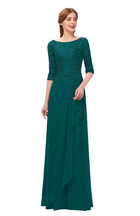 0b5af5a2d7a0 ColsBM Jody Shaded Spruce Bridesmaid Dresses Elbow Length Sleeve Simple A-line  Floor Length Zipper