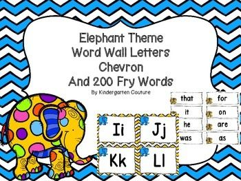 Create a print rich environment by hanging these Elephant Theme (Chevron) Word Wall Letters and 200 Fry Sight Words. Word walls help…