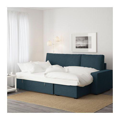 VILASUND Sovesofa med chaiselong - Hillared mørkeblå - IKEA