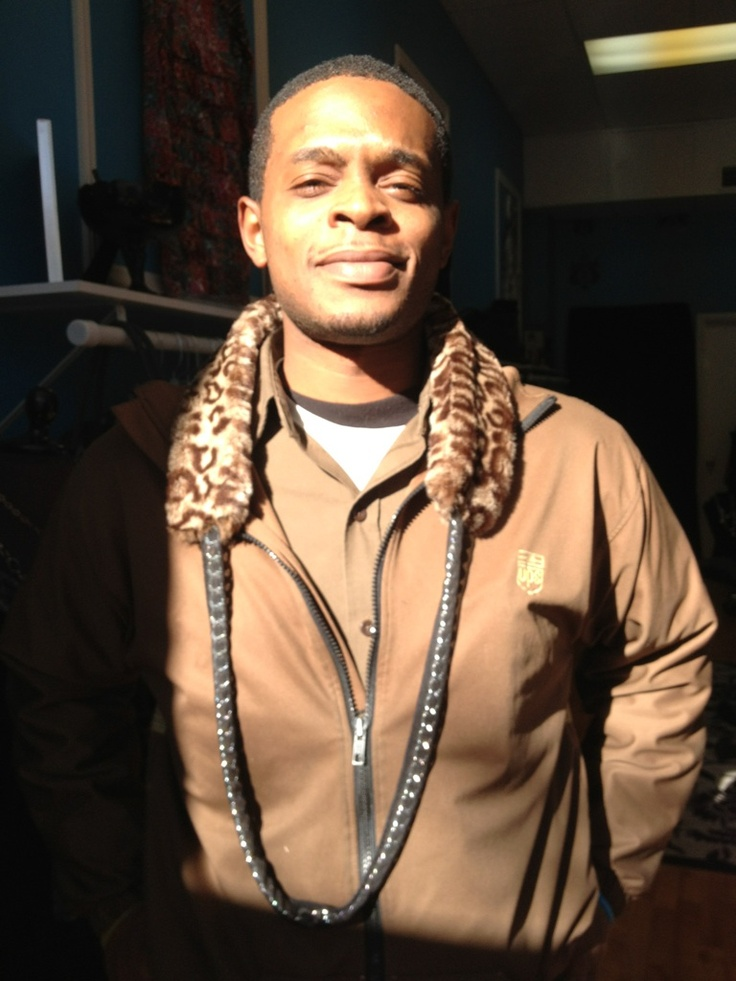 Cool Dude Ed sporting our Leopard Chain fur scarf!