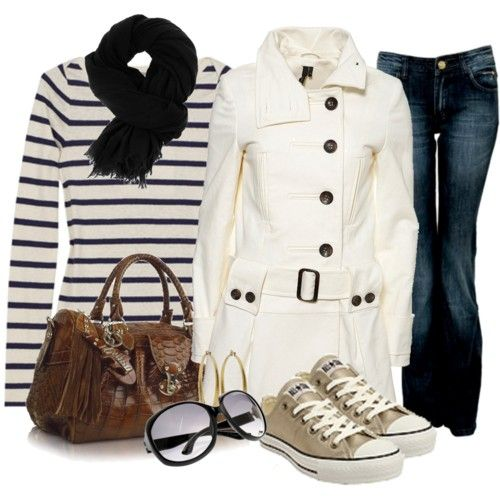 Great fall outfitShoes, Fashion, Style, Clothing, White Coats, Jackets, Stripes Shirts, Fall Outfit, Casual Looks