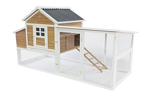Start Living Sunny Side Up with this space-efficient coop-and-run combination. It's hand built from solid fir and roomy enough to comfortably sleep up to 9 chickens if they are allowed to free-range...