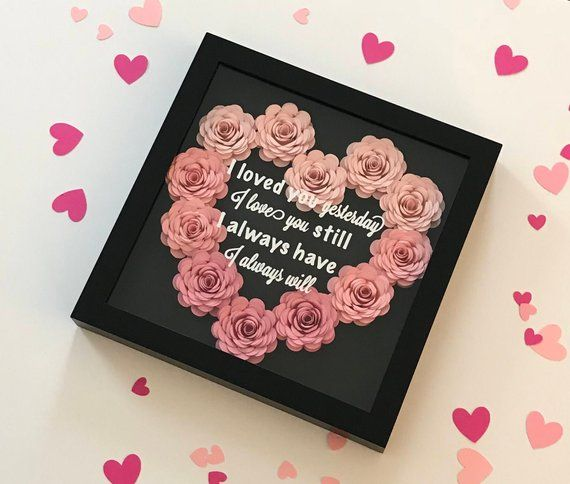 1 Year Anniversary Gift Paper Anniversary Gift Traditional Anniversary Gift Flower Shadow Box One Year Anniversary Gift For Wife Paper Gifts Anniversary Flower Shadow Box