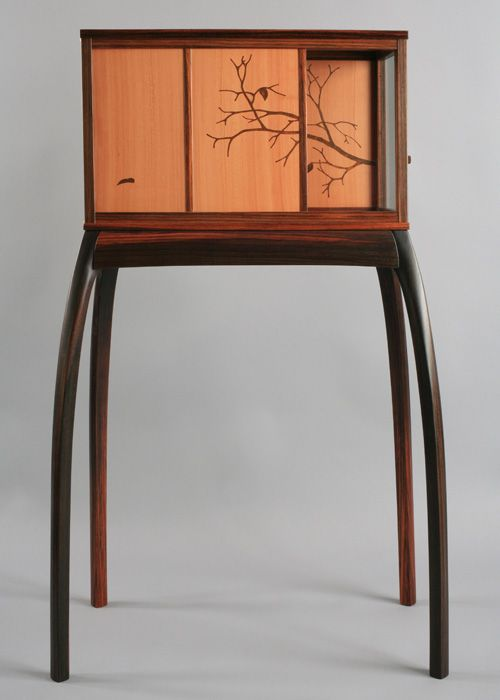 curved glass showcase showing a marquetry tree branch in late fall | pear, east indian rosewood |
