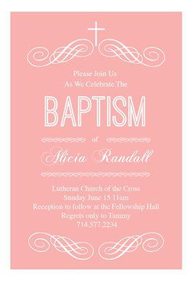 Free Printable Baptism & Christening Invitation - Pink Decorations   Greetings Island