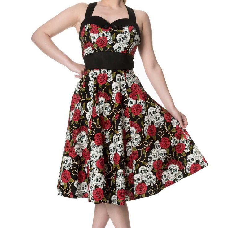 Green With Envy sweetheart jurk met rozen schedels print zwart - Gothic Rockabilly