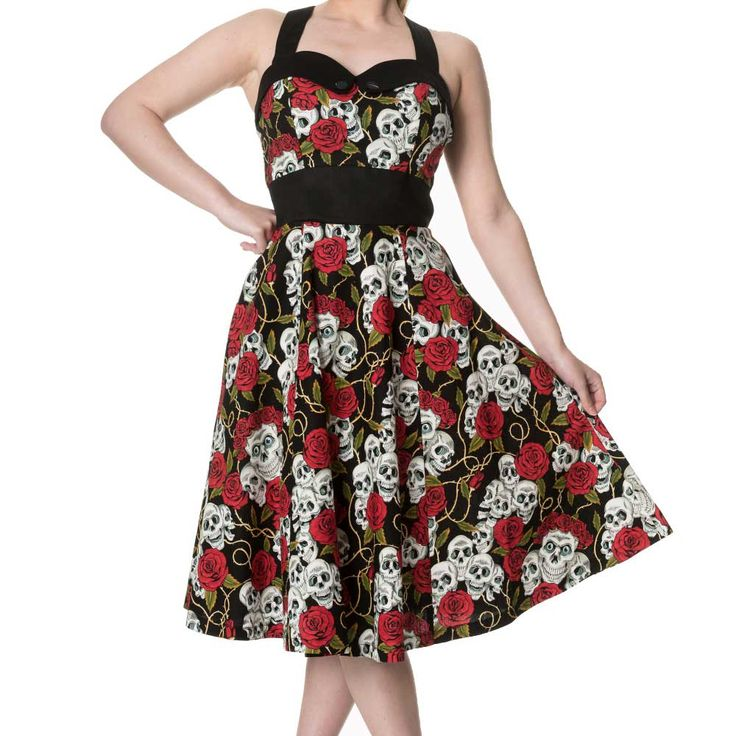 Green With Envy sweetheart jurk met rozen schedels print zwart - Gothic Rockabilly