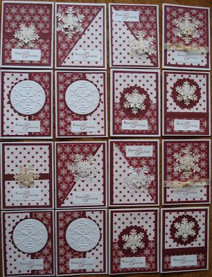 KT Krafts: Sixteen New Cards U One sheet wonder! (uses 2 sheets instead of 1  two sided 12 x 12 sheet)  Might be a good one for Christmas cards.