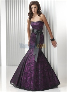 Black lace dress long purple dresses for women   $160.00