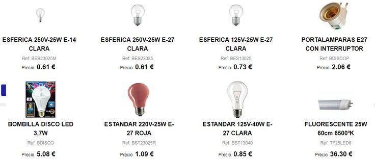 Bombillas de todo tipo: estándar, fluorescentes, LED, dicroicas, etc ...