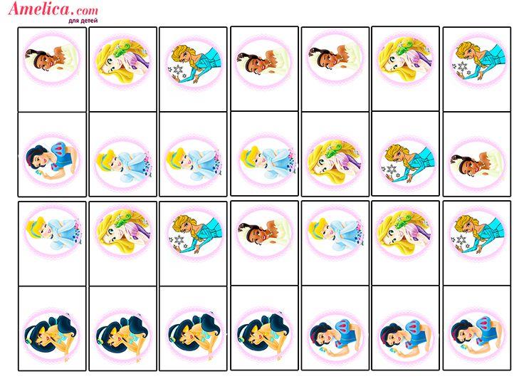Игры для девочек и мальчиков скачать бесплатно и распечатать, домино с принцессами Диснея для девочек, игры для девочек своими руками распечатать бесплатно