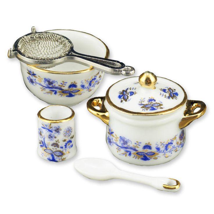 Blue Onion Miniature Cookware Set by Reutter #Reutter