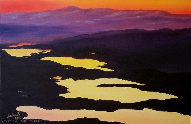 "Oil painting ""mountain lake"" by Radmila Filimonova from Riga, Latvia. More paintings www.radmilaart.com"