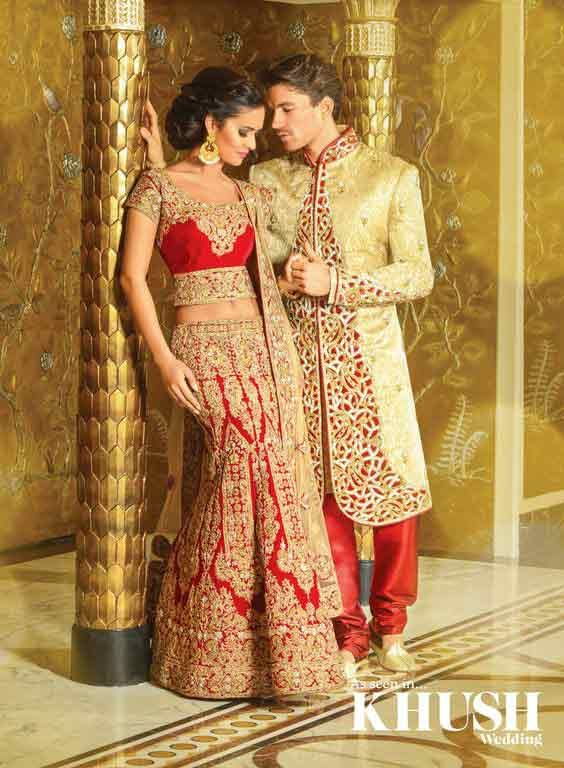 Bride and groom dress color combination