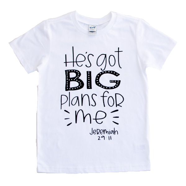 He's got big plans for me, Spiritual kids tees, Spiritual kids clothes, Christian shirts for kids, kids Jesus shirt