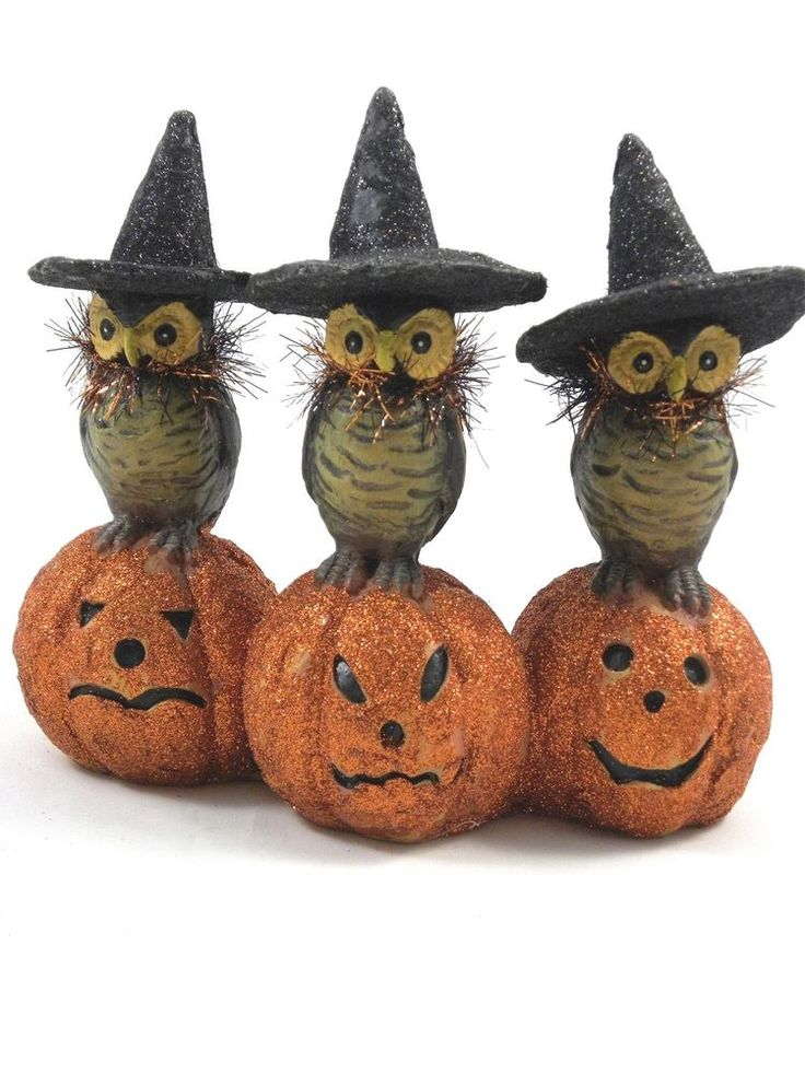 kd vintage owls with witch hats on pumpkins halloween paper mache decoration new