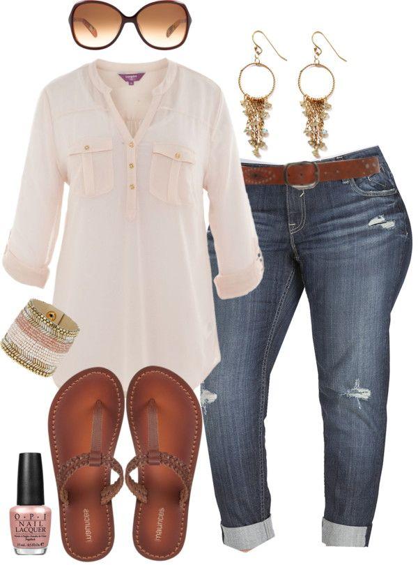 """Boyfriend Jeans & Flip Flops - Plus Size"" by alexawebb ❤ liked on Polyvore"