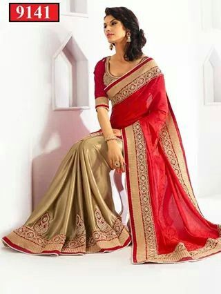 Gold and red colour  saree