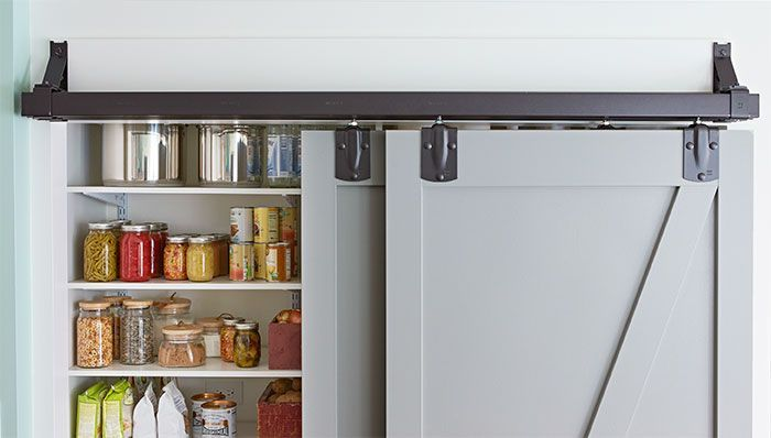 Sliding Pantry Doors, less busy visually, a bit less in your face rustic