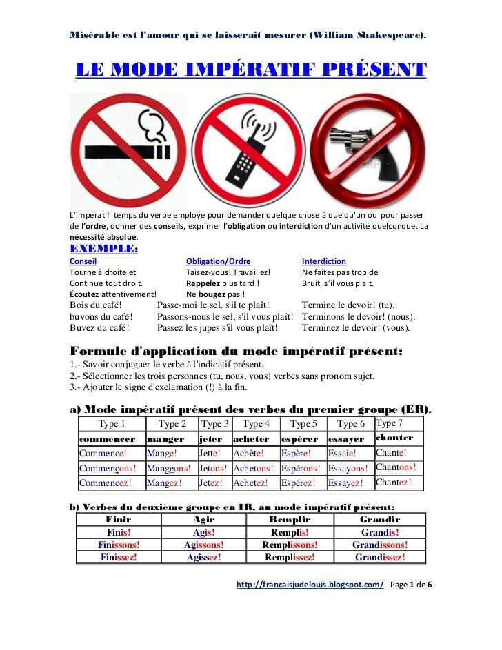Le mode Impératif Présent by francaisjudelouis via slideshare