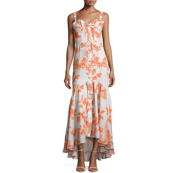 Johanna Ortiz Playa de Belen Toucan-Print Tie-Waist Dress (695 AUD) ❤ liked on Polyvore featuring dresses, palm tree print dress, tie waist dress, hi low dress, sleeveless high low dress and pattern dress