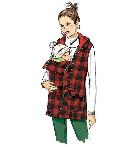 Maternity vest and jacket sewing pattern with a convertible front. Butterick B6301, Misses' Maternity Vest, Coat and Belt