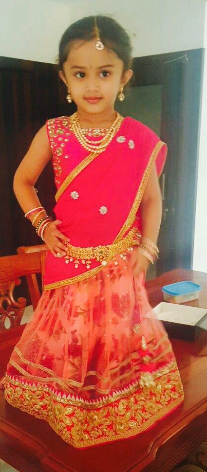 Pink and floral kids half saree