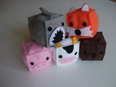 Cute felt animal blocks.