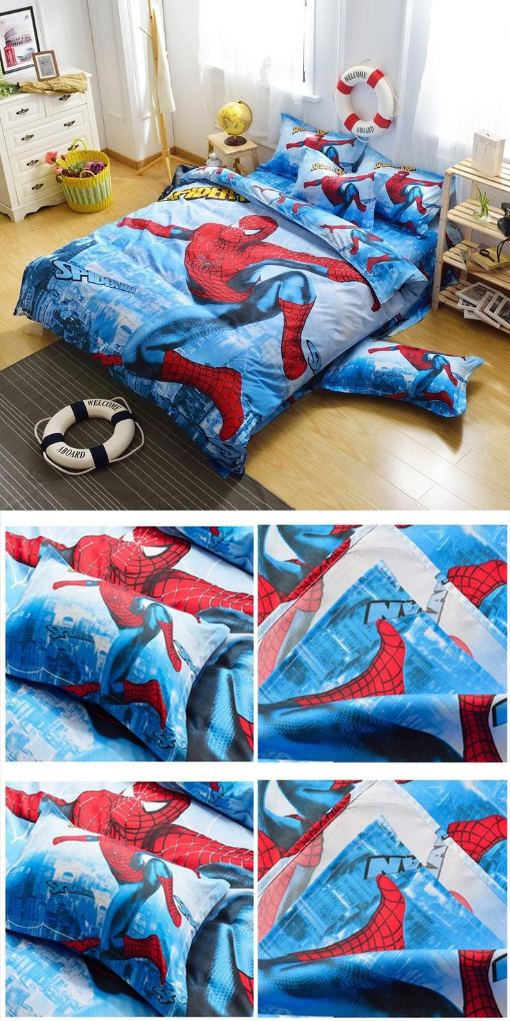 Spiderman and friends bedding -  Visit To Buy Hot Cotton Bedding Set 4pcs Cartoon Printing Spiderman Bedclothes Duvet Cover