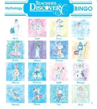 Mythology Bingo by Teacher's Discovery. $21.95. What is Zeus' Roman name? Who is the Goddess of Love? Who is the God of the Underworld? Three different questions for each picture so the game can be played many times with fresh questions! Mythology is a fun part of history! Your kids will want to play again and again. Thirty-six cards. Bingo chips sold separately. Middle school/High school. Twenty call-out cards with three questions for each answer allow you to play mul...