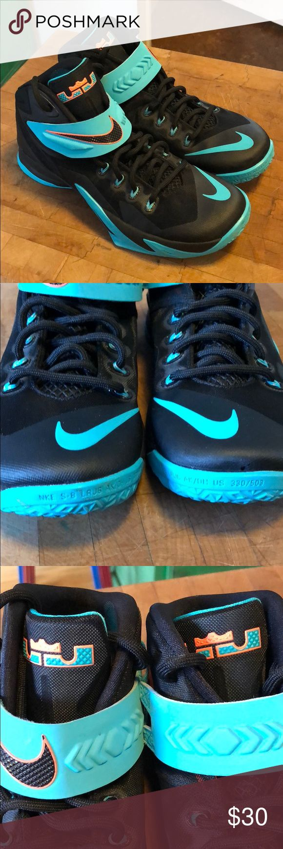 Nike Lebron soldiers so 9.5 men excellent Nike shoes in excellent condition, black and turquoise with orange zipper, men size 9.5 Nike Shoes Athletic Shoes