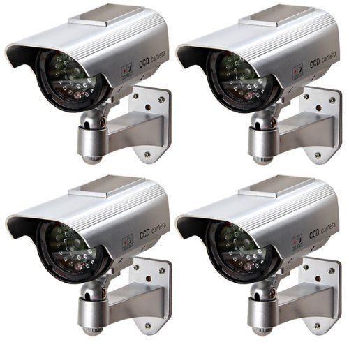 Solar Dummy Security Camera – SODIAL (R) Solar Dummy Security Camera Powered LED Lamp Outdoor CCD Camera CCTV IP Camera Silver for House Shop (4 pack) silver
